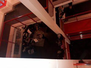 im Stiegenhaus des Schöpfwerks spielt ein Streichquartett
